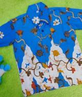 Baju batik bayi anak laki-laki kemeja batik batita hem anak cowok 2-4th baju pesta motif kembang bambu biru