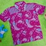 Baju batik bayi anak laki-laki kemeja batik batita hem anak cowok 2-4th baju pesta motif kembang kawung ungu