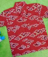 Baju batik bayi anak laki-laki kemeja batik batita hem anak cowok 2-4th baju pesta motif mega mendung merah