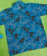 Baju batik bayi anak laki-laki kemeja batik batita hem anak cowok 2-4th baju pesta motif suluran tosca