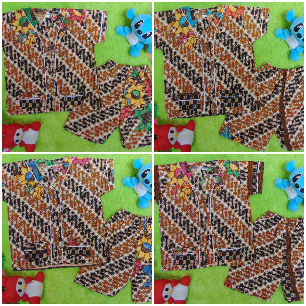 FOTO UTAMA Setelan Baju Tidur Piyama Batik Bayi size 0 0-6bln motif parang coklat RANDOM
