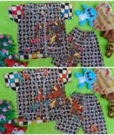 FOTO UTAMA Setelan Baju Tidur Piyama Batik Bayi size S 0-12bln motif Ceplok Kembang RANDOM