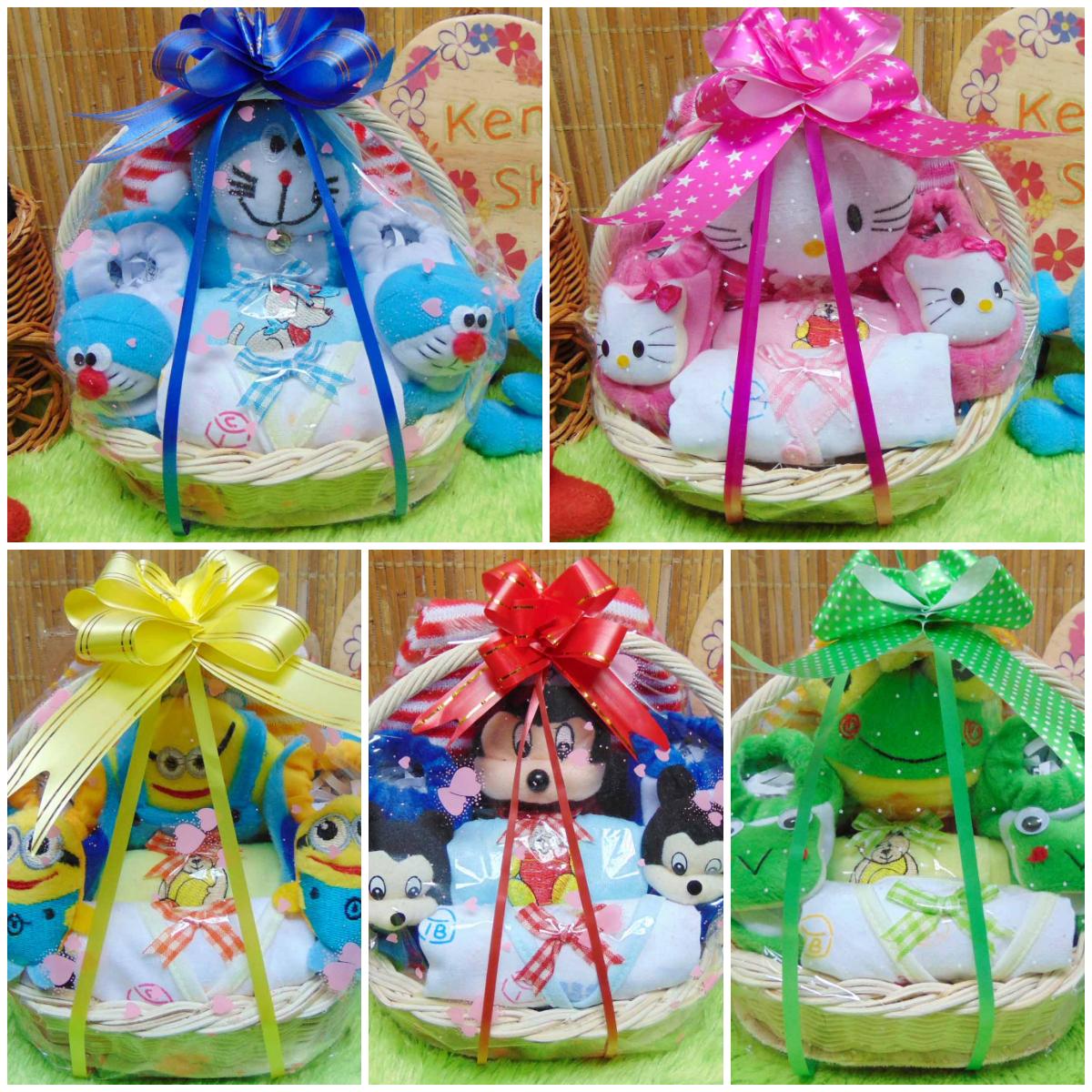 FOTO UTAMA paket kado bayi baby gift kado lahiran parcel bayi parsel kado bayi keranjang tangkai MINI KARAKTER KARTUN