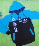Jaket Anak PAUD TK 4-5thn Anti Air Waterproof Sport Blue 60, lebar dada 39cm, panjang 53cm, bahan adem lembut nyaman dipakai ga bikin gerah