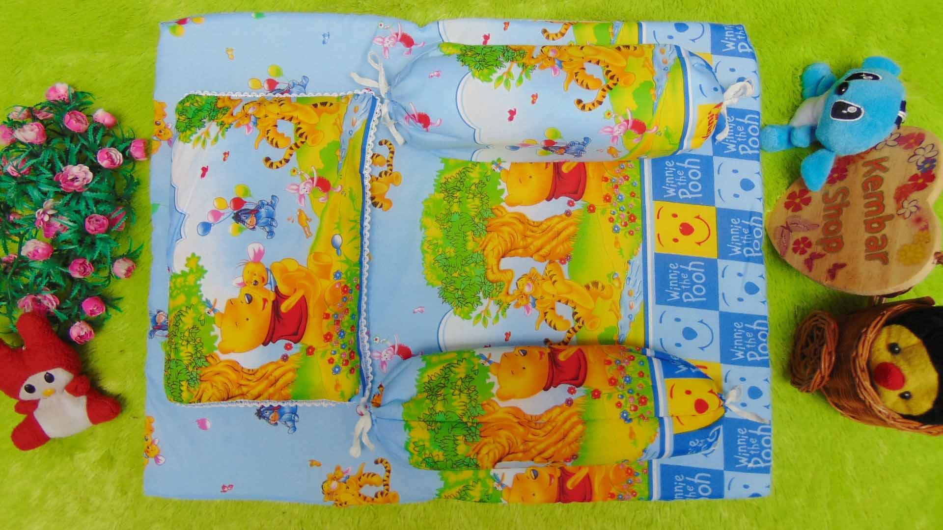PALING MURAH kado bayi set kasur bayi karakter Winnie The Pooh plus bantal dan guling Biru