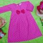PLUS JILBAB gamis anak bayi 1-2tahun polka Pink Pita Cantik