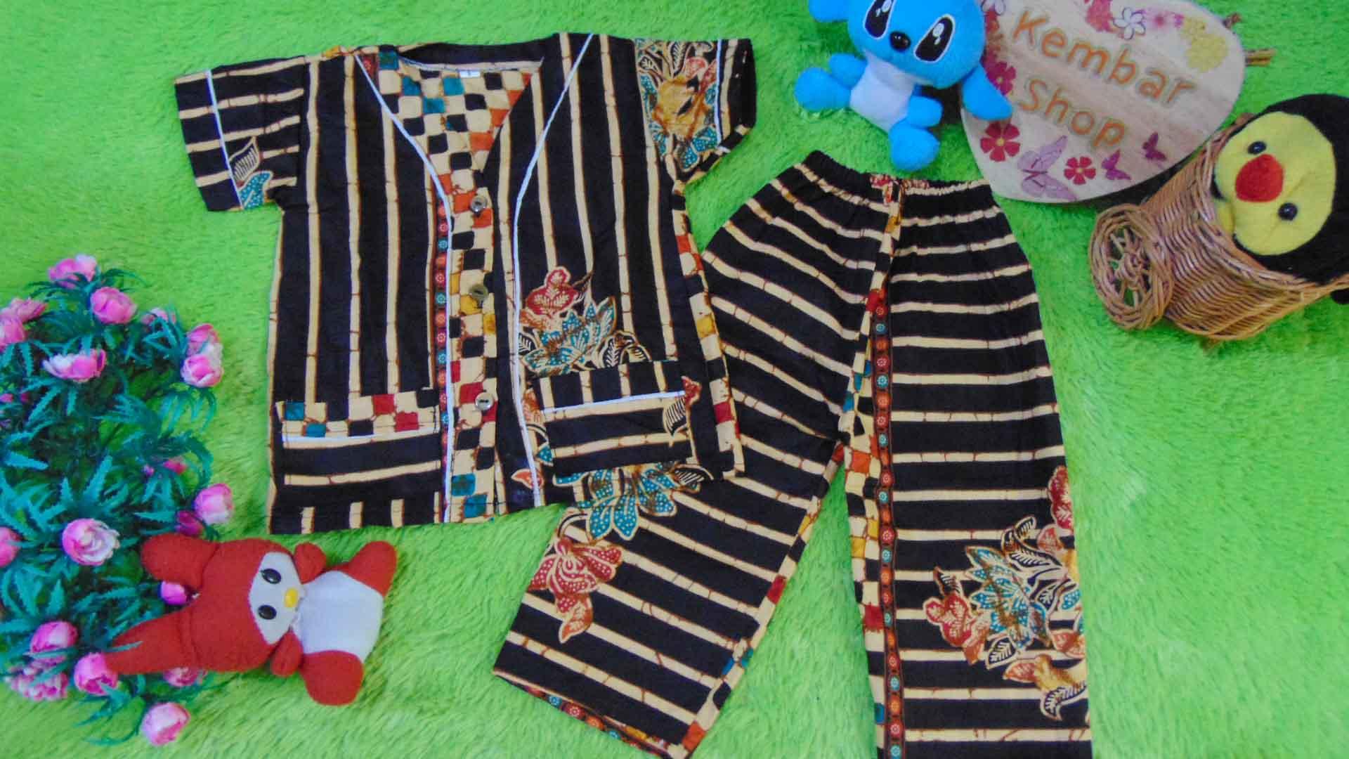 Setelan Baju Tidur Piyama Batik Bayi Celana Panjang size O 0-12bln motif Bambu Hitam RANDOM (1)