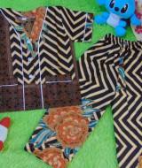 Setelan Baju Tidur Piyama Batik Bayi Celana Panjang size O 0-12bln motif Geometri Zigzag