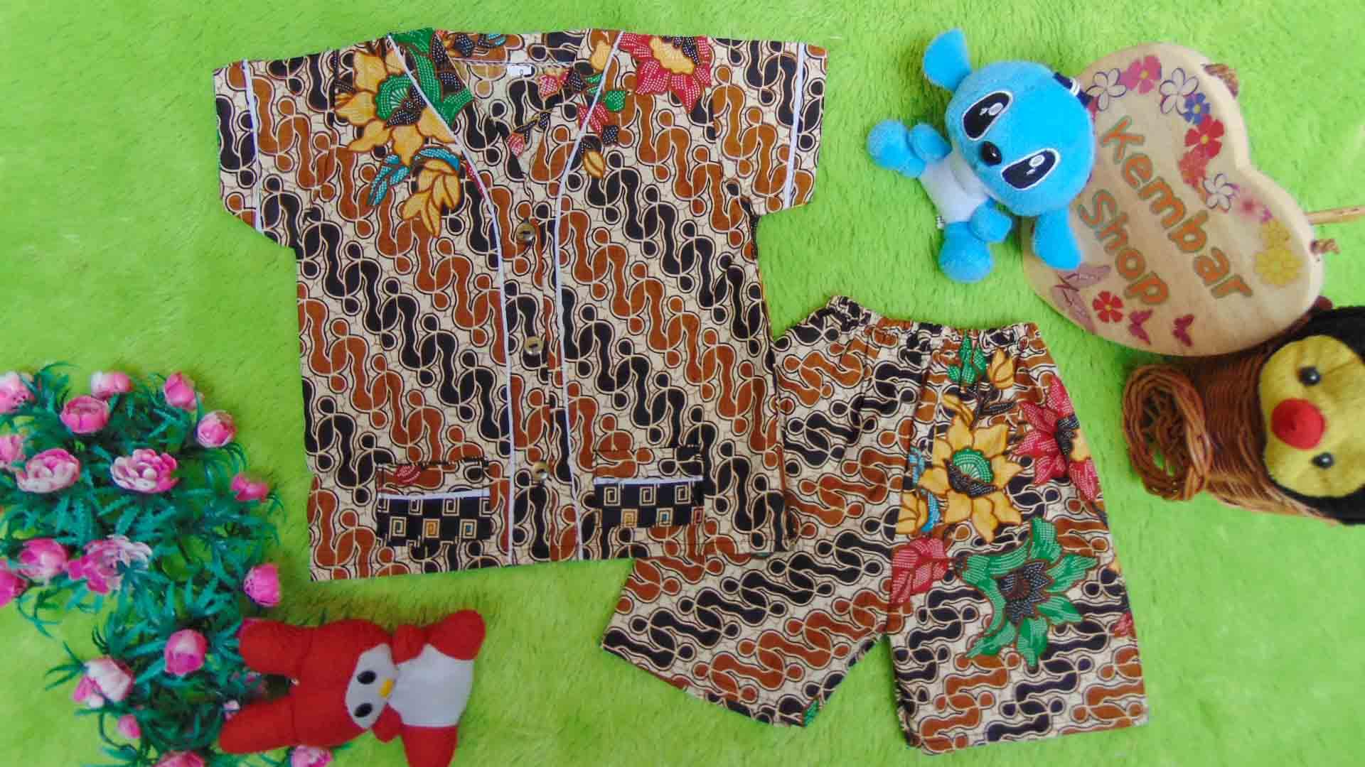 Setelan Baju Tidur Piyama Batik Bayi size 0 0-6bln motif parang coklat RANDOM 1