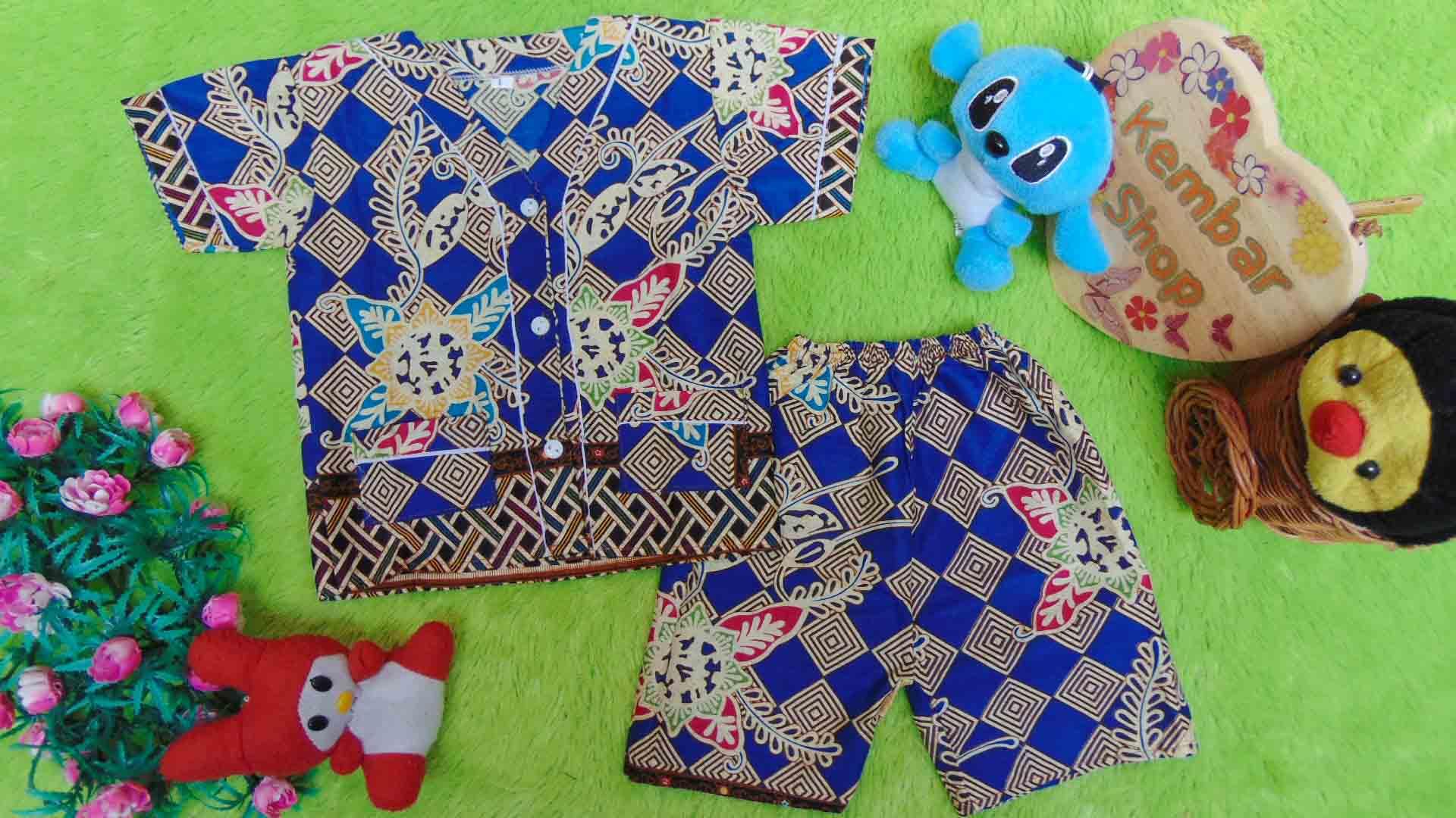 Setelan Baju Tidur Piyama Batik Bayi size O 0-6bln motif Geometri Sulur biru