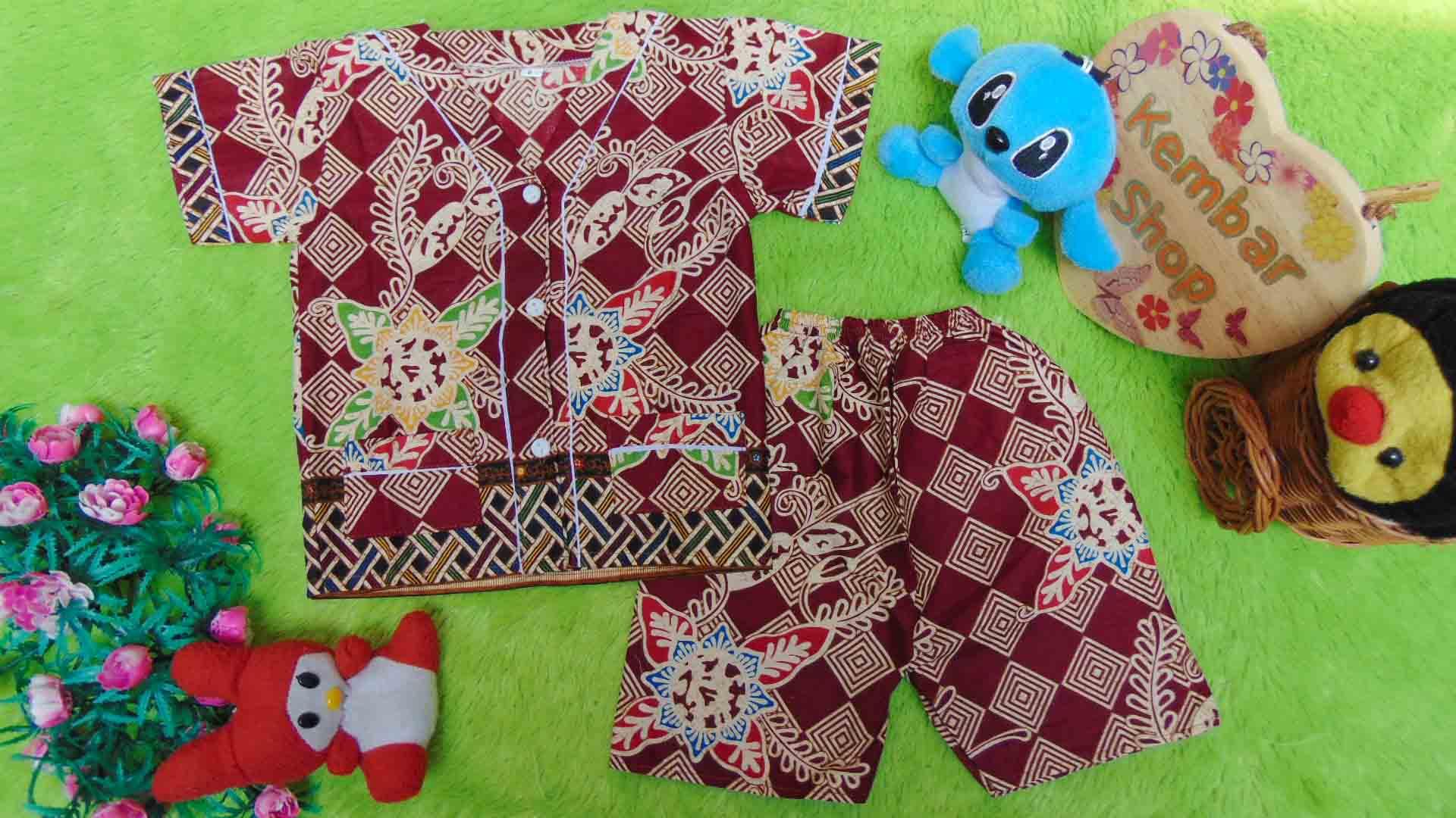 Setelan Baju Tidur Piyama Batik Bayi size O 0-6bln motif Geometri Sulur maroon