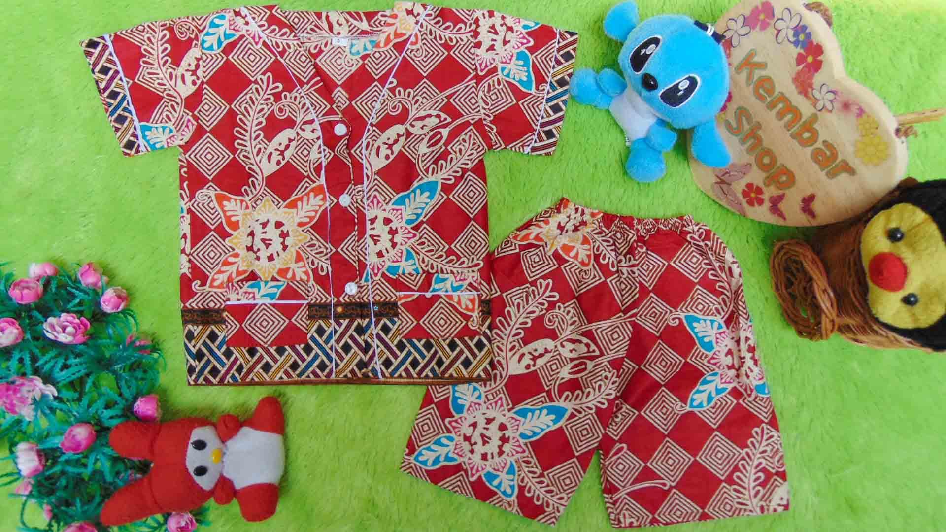 Setelan Baju Tidur Piyama Batik Bayi size O 0-6bln motif Geometri Sulur merah