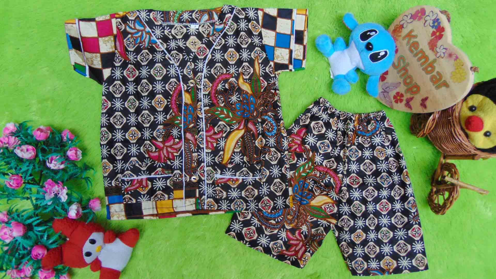 Setelan Baju Tidur Piyama Batik Bayi size S 0-12bln motif Ceplok Kembang RANDOM 2