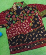 baju batik bayi anak laki-laki kemeja batik batita hem anak cowok uk 1-3th baju pesta motif batu polka