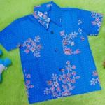 baju batik bayi anak laki-laki kemeja batik batita hem anak cowok uk 1-3th baju pesta motif dotie kembang biru