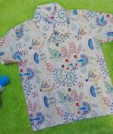 baju batik bayi anak laki-laki kemeja batik batita hem anak cowok uk 1-3th baju pesta motif floral kuning