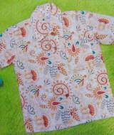 baju batik bayi anak laki-laki kemeja batik batita hem anak cowok uk 1-3th baju pesta motif floral white