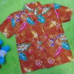 baju batik bayi anak laki-laki kemeja batik batita hem anak cowok uk 1-3th baju pesta motif lukisan floral orange