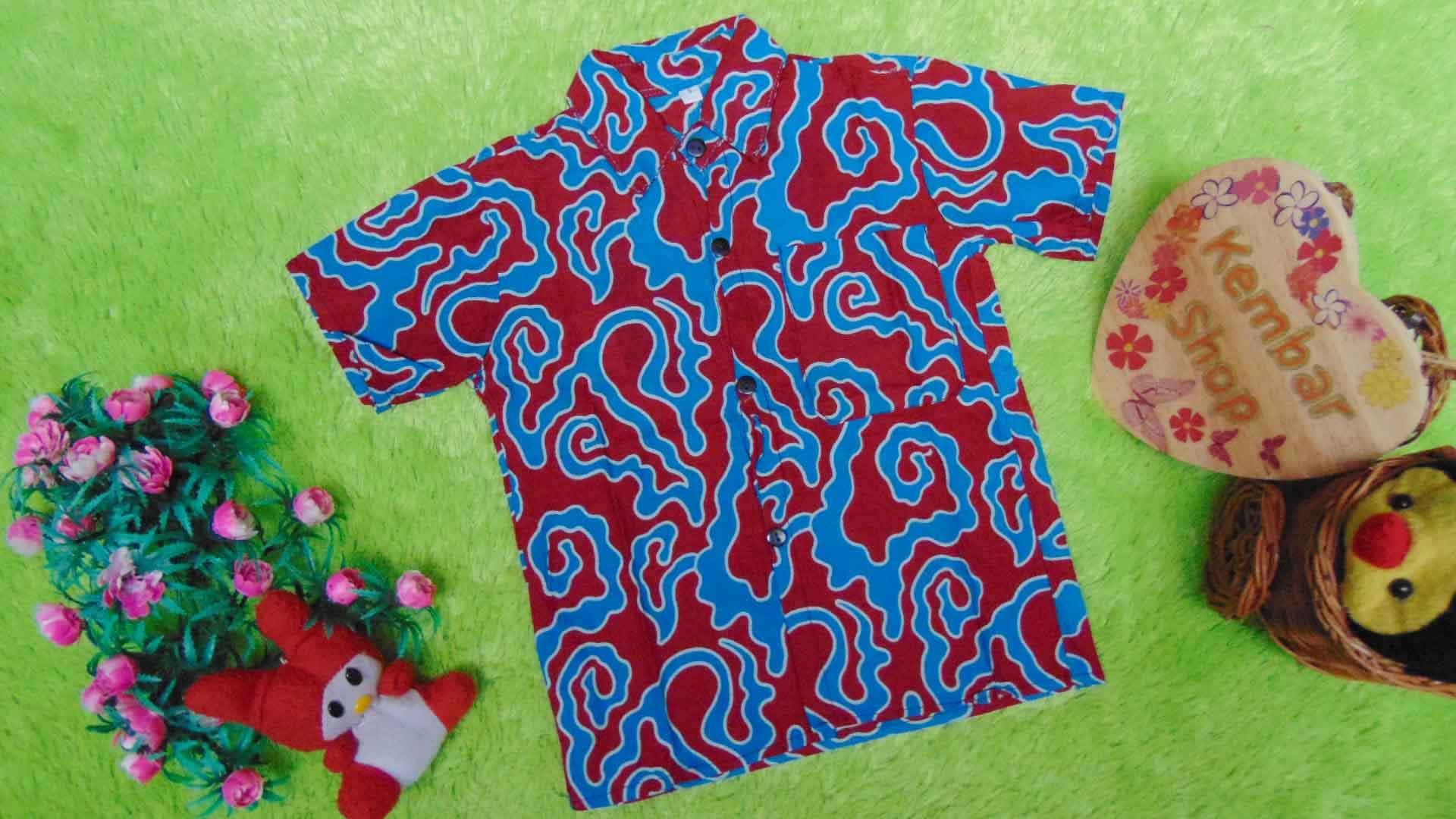 baju batik bayi anak laki-laki kemeja batik batita hem anak cowok uk 1-3th baju pesta motif merah sungai biru