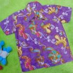 baju batik bayi anak laki-laki kemeja batik batita hem anak cowok uk 1-3th baju pesta motif sulur floral ungu