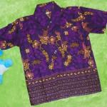 baju batik bayi anak laki-laki kemeja batik batita hem anak cowok uk 1-3th baju pesta motif sulur kembang ungu