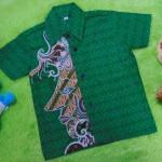 baju batik bayi anak laki-laki kemeja batik batita hem anak cowok uk 1-3th baju pesta motif wayang orang hijau