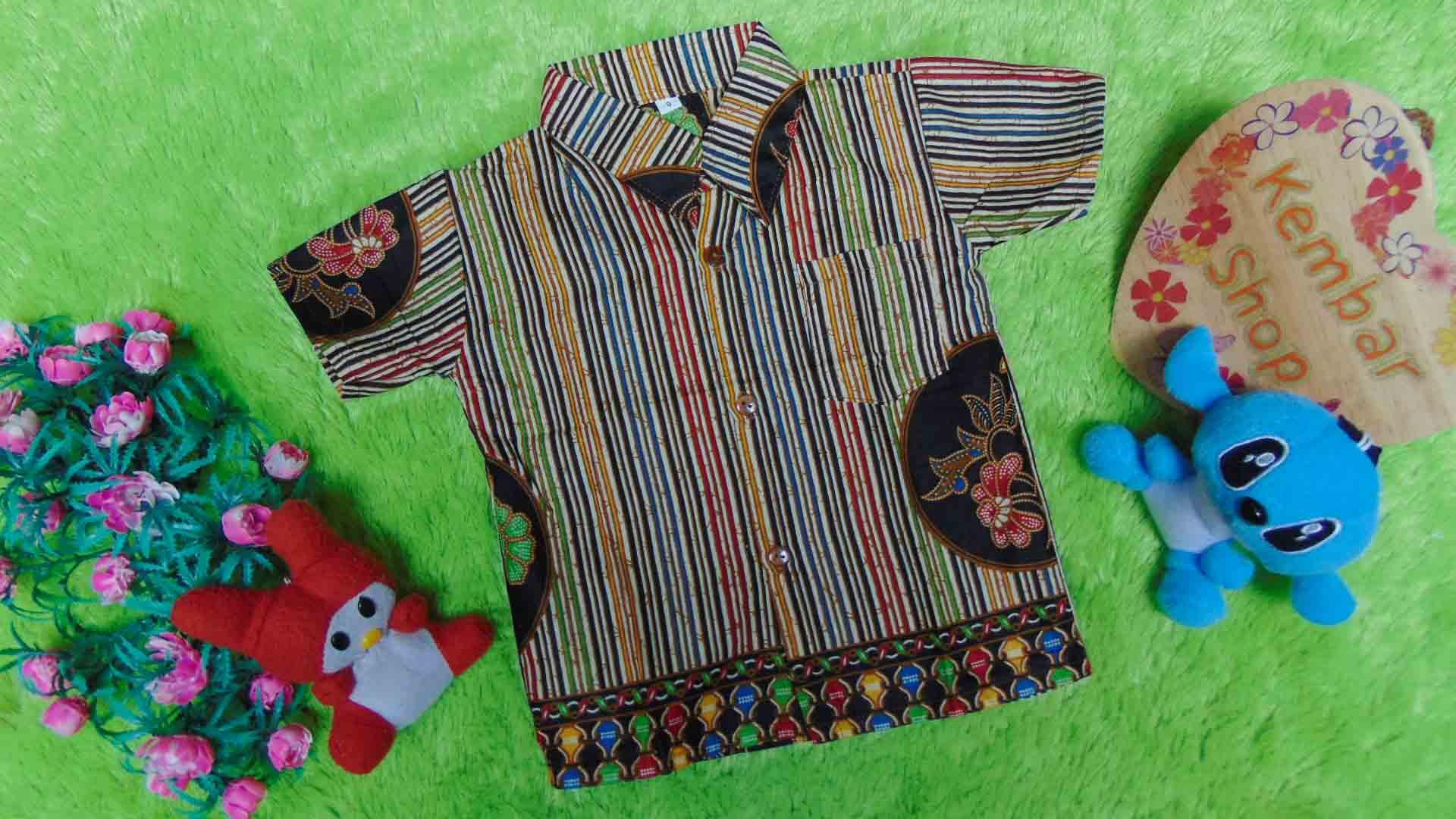 baju batik bayi anak laki-laki kemeja batik bayi hem anak cowok uk 0-2th baju pesta motif Rainbow Lurik Bunga Tengah 3