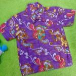 baju batik bayi anak laki-laki kemeja batik bayi hem anak cowok uk 0-2th baju pesta motif Sulur Floral Ungu