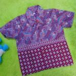 baju batik bayi anak laki-laki kemeja batik bayi hem anak cowok uk 0-2th baju pesta motif Sulur Kembang Ungu Tumpal
