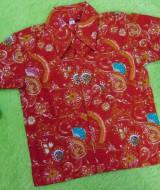 baju batik bayi anak laki-laki kemeja batik bayi hem anak cowok uk 0-2th baju pesta motif lukisan floral merah