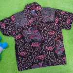 baju batik bayi anak laki-laki kemeja batik bayi hem anak cowok uk 0-2th baju pesta motif mega mendung cokelat