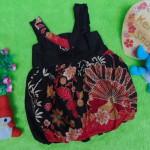 dress baju pesta batik balon yukensi anak bayi perempuan 0-9bulan motif kembang kipas