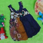 dress baju pesta batik balon yukensi anak bayi perempuan 0-9bulan motif kipas navy