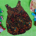 dress baju pesta batik balon yukensi anak bayi perempuan 0-9bulan motif pohon kelapa