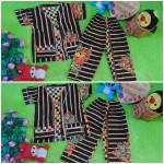 Setelan Baju Tidur Piyama Batik Bayi Celana Panjang size O 0-12bln motif Bambu Hitam RANDOM