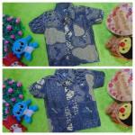foto utama baju batik bayi anak laki-laki kemeja batik bayi hem anak cowok uk 0-2th baju pesta motif sisik ikan n kembang