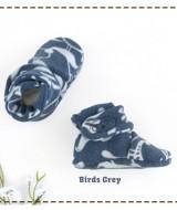 kado sepatu bayi prewalker baby newborn 0-6bulan booties cuddleme motif Birds Grey