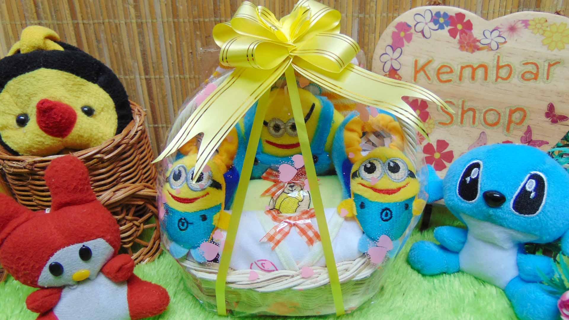 paket kado bayi baby gift kado lahiran parcel bayi parsel kado bayi keranjang tangkai MINI minnions