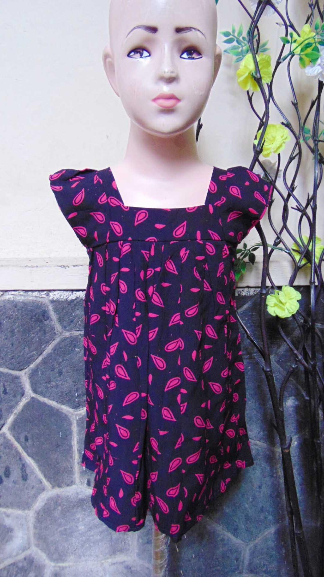 Daster Yukensi Anak Dress baju santai batita perempuan cewek 2-3th adem motif tetes hujan