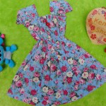 Dress Elegan baju pesta bayi perempuan cewek 6-18bulan kerut pinggang adem lembut motif romantic rose Blue