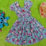 Dress Elegan baju pesta bayi perempuan cewek 6-18bulan kerut pinggang adem lembut motif romantic rose Tosca