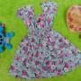 Dress Elegan baju pesta bayi perempuan cewek 6-18bulan kerut pinggang adem lembut motif romantic rose green