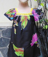 Dress baju santai batita perempuan cewek 2-3th Daster kerah renda adem lembut motif floral black