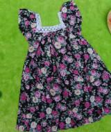 Dress baju santai batita perempuan cewek 2-3th Daster kerah renda adem lembut motif hitam mawar mekar