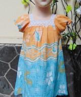 Dress baju santai batita perempuan cewek 2-3th Daster kerah renda adem lembut motif orange biru