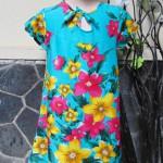 Dress baju santai batita perempuan cewek 3-4th Daster tali dada adem lembut motif bunga mekar tosca