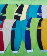 PAKET USAHA Selusin 12pcs celana panjang anak 0-2th double stripe 63, Panjang celana 43cm,bahan kaos katun adem lembut,nyaman untuk harian, warna random alias acak tidak bisa pilih-pilih