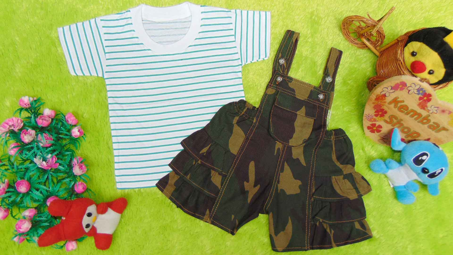 TERLARIS setelan kaos salur plus Celana kodok jeans susun Army Tentara Random (2)