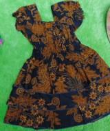 baju pesta dress batik kerut dada susun tiga anak bayi perempuan 0-12bulan motif godhong cokelat