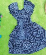 baju pesta dress batik kerut dada susun tiga anak bayi perempuan 0-12bulan motif kembang rambat abu hitam